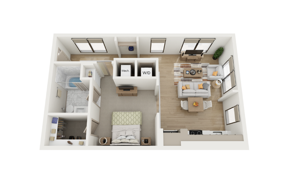 1 Bed, 1 Bath (A3 Floor Plan) at Towerview at Ballantyne in Charlotte, NC