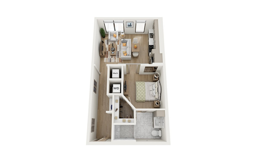 A1 - 1 bedroom floorplan layout with 1 bath and 646 square feet.