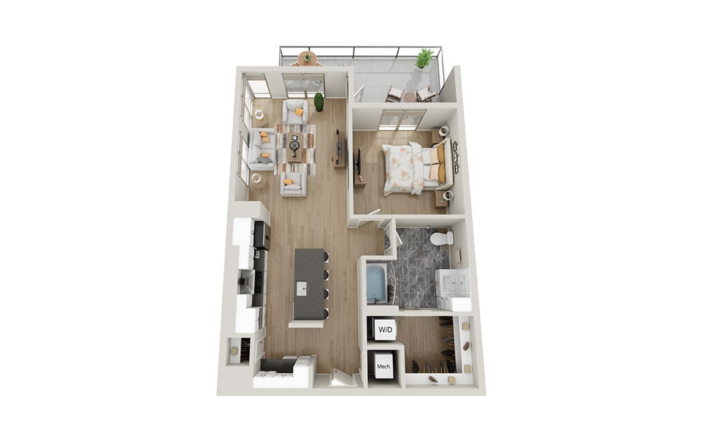 A1T - 1 bedroom floorplan layout with 1 bath and 910 square feet.