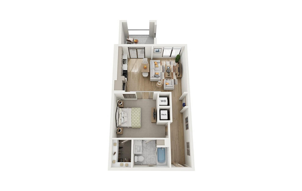 A2 - 1 bedroom floorplan layout with 1 bath and 703 square feet.