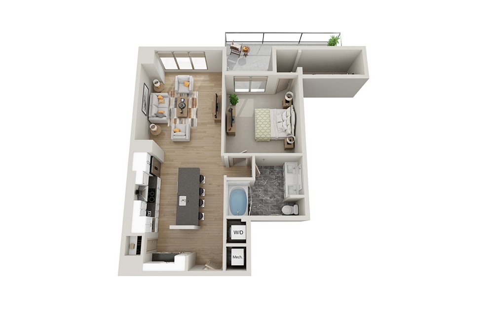 A2T - 1 bedroom floorplan layout with 1 bath and 958 square feet.