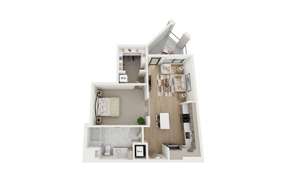 A4 - 1 bedroom floorplan layout with 1 bath and 783 square feet.