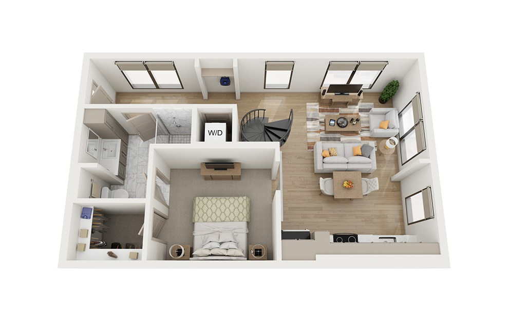 A5 - 1 bedroom floorplan layout with 1 bath and 876 square feet. (Floor 1)