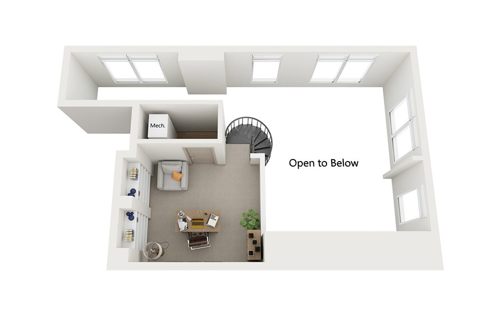 A5 - 1 bedroom floorplan layout with 1 bath and 876 square feet. (Floor 2)