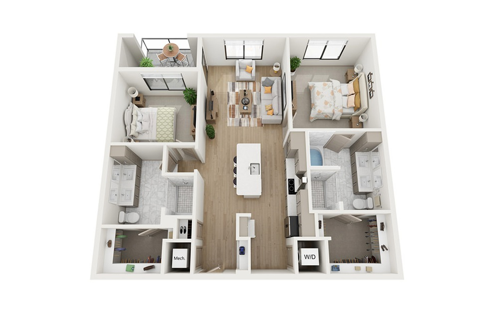 B1 - 2 bedroom floorplan layout with 2 baths and 1209 square feet.
