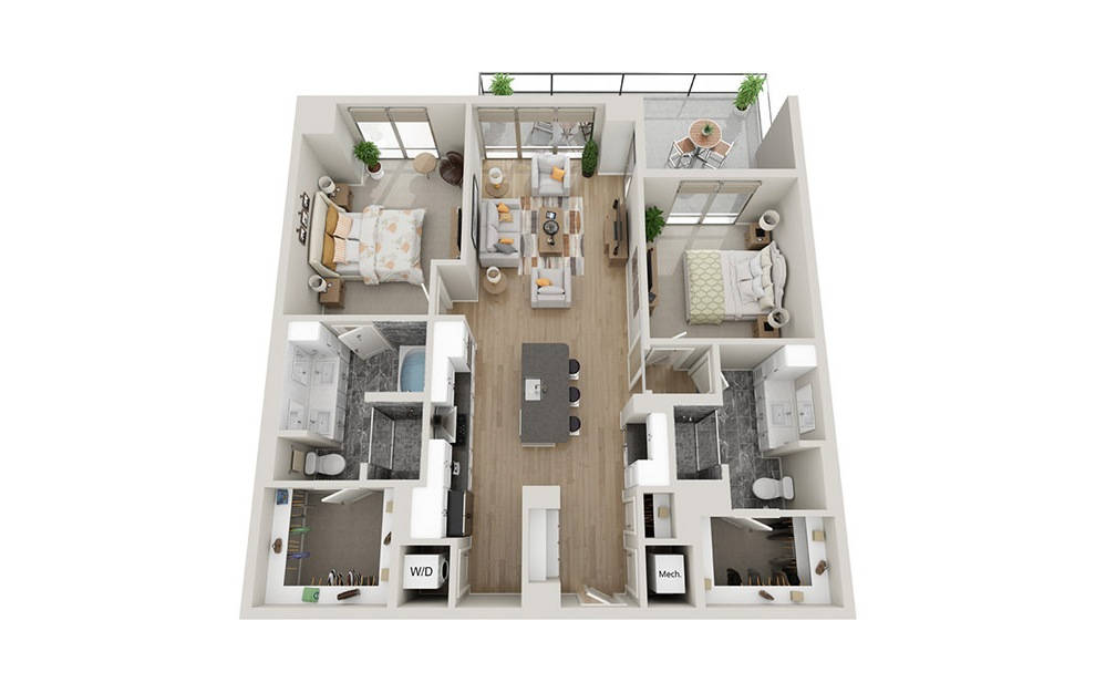 B1T - 2 bedroom floorplan layout with 2 baths and 1274 square feet.