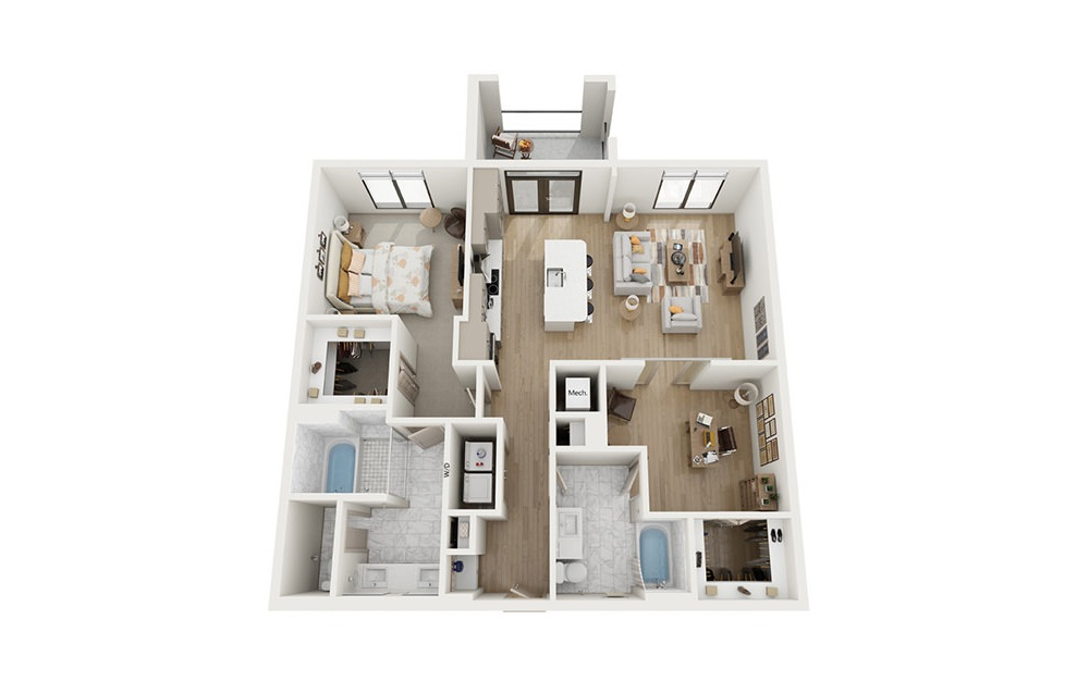 B2 - 2 bedroom floorplan layout with 2 baths and 1224 square feet.