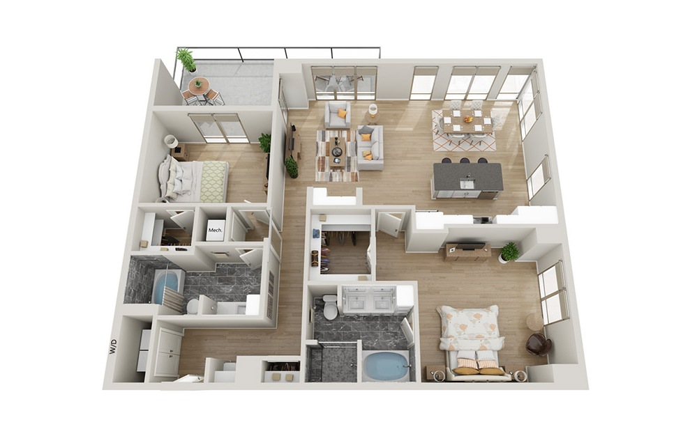 B2T - 2 bedroom floorplan layout with 2 baths and 1562 square feet.