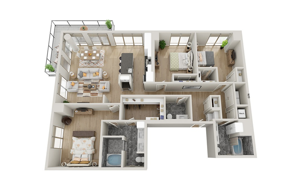 C1T - 3 bedroom floorplan layout with 2.5 baths and 1868 square feet.