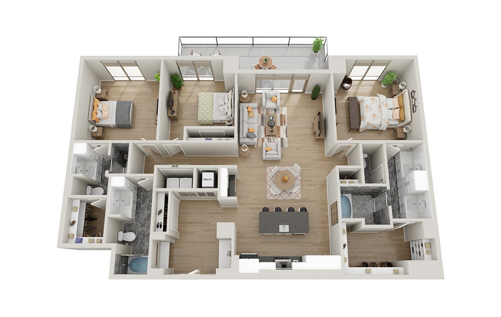 C3T - 3 bedroom floorplan layout with 3 baths and 1983 square feet.