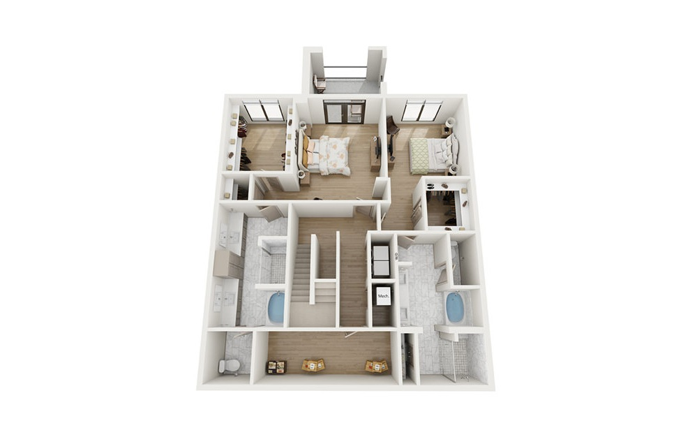 BTH1 - 2 bedroom floorplan layout with 2.5 baths and 2492 square feet. (Floor 1)