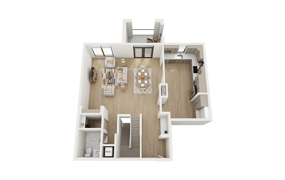 BTH1 - 2 bedroom floorplan layout with 2.5 baths and 2492 square feet. (Floor 2)
