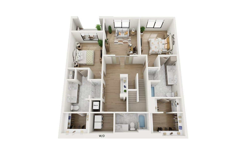 CTH1.2 - 3 bedroom floorplan layout with 4 baths and 2492 square feet. (Floor 1)