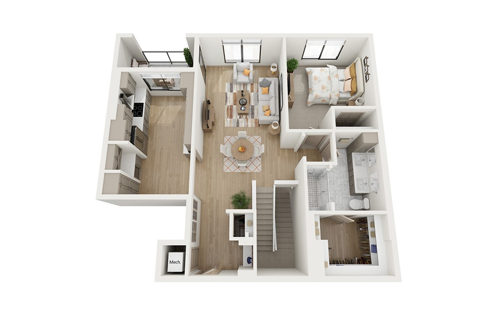 CTH1.2 - 3 bedroom floorplan layout with 4 baths and 2492 square feet. (Floor 2)