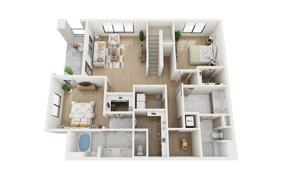 CTH2 - 3 bedroom floorplan layout with 2.5 baths and 2961 square feet. (Floor 1)