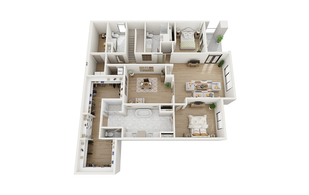 CTH3 - 3 bedroom floorplan layout with 4 baths and 3837 square feet. (Floor 1)
