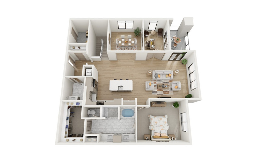 CTH3 - 3 bedroom floorplan layout with 4 baths and 3837 square feet. (Floor 2)