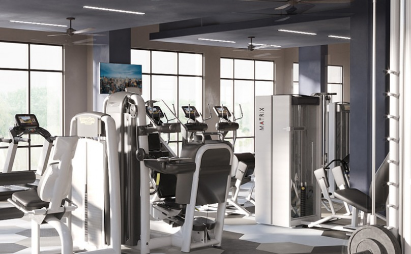 Large fitness space with up-to-date equipment