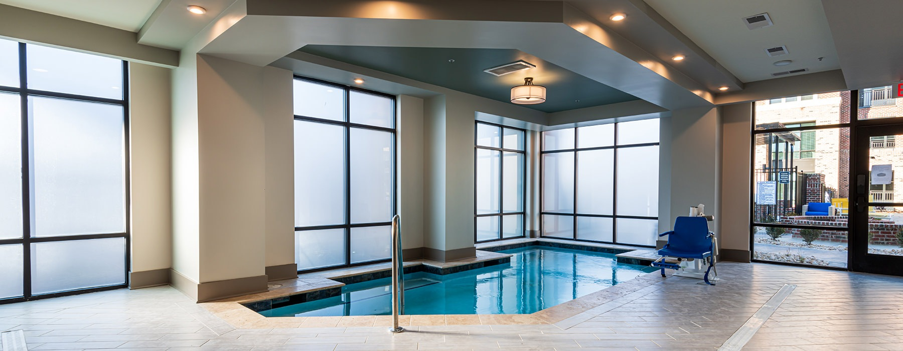 Indoor pool connected to the sauna and fitness center