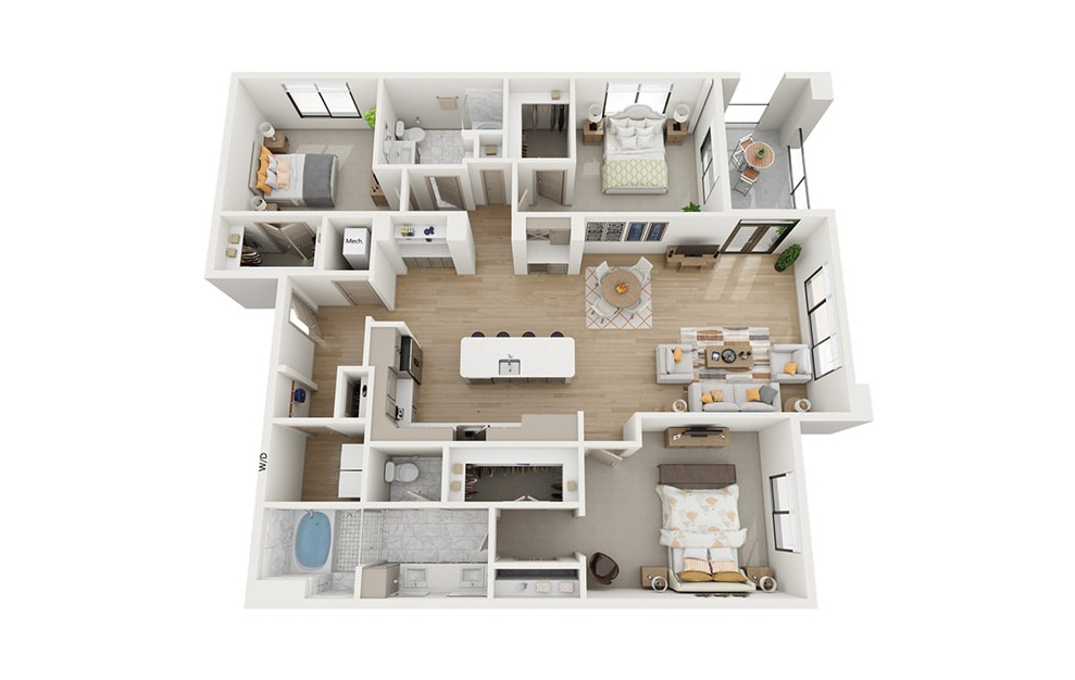 C1 - 3 bedroom floorplan layout with 2 baths and 1866 square feet.