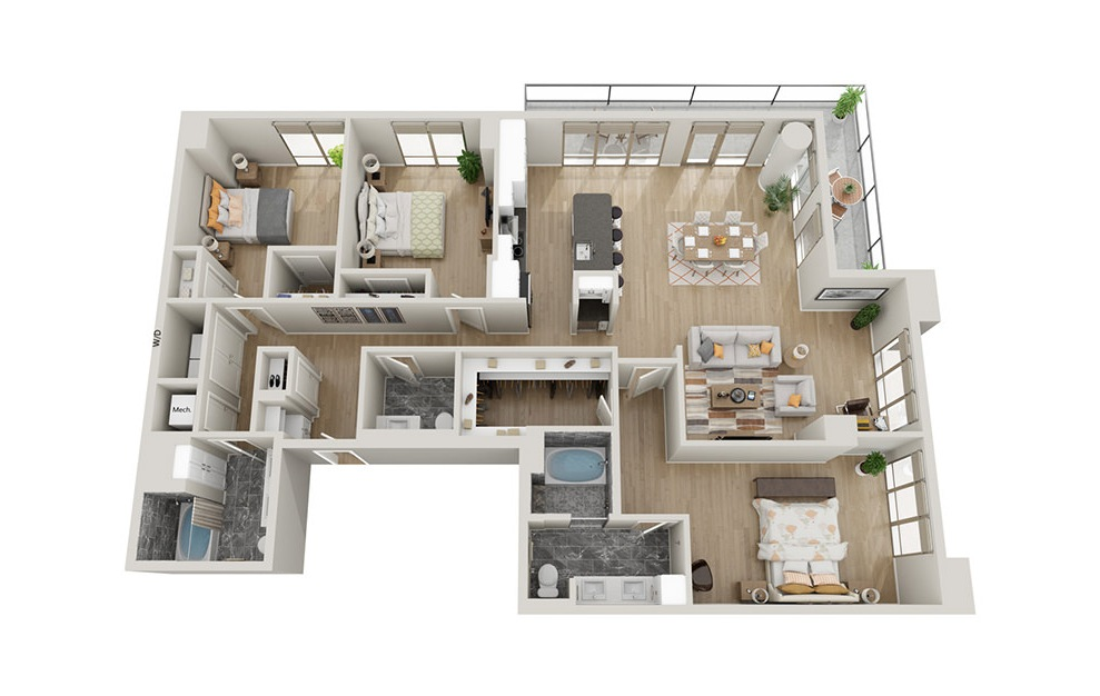 C2T - 3 bedroom floorplan layout with 2.5 baths and 1975 square feet.